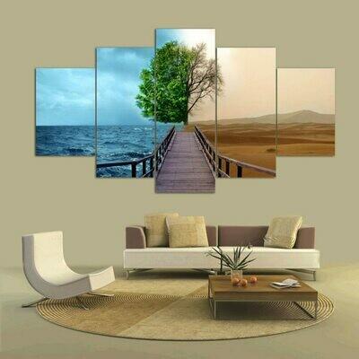 Bridge Tree - 5 Panel Canvas Print Wall Art Set