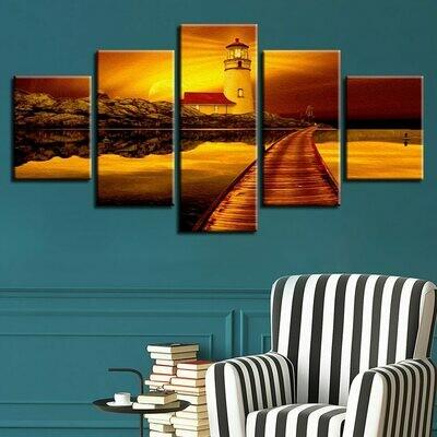 Bridge Trees Lake Sunset Scenery - 5 Panel Canvas Print Wall Art Set