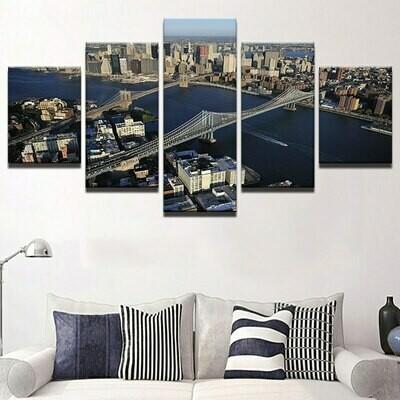 Brooklyn Bridge And Manhattan Bridge Landscape - 5 Panel Canvas Print Wall Art Set