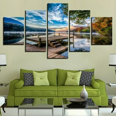 Forest Bridge Stand Lake Early Morning Scenery - 5 Panel Canvas Print Wall Art Set