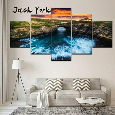 Landscape Rapid River Under Bridge - 5 Panel Canvas Print Wall Art Set