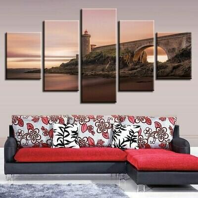 Coast Lighthouse Bridge - 5 Panel Canvas Print Wall Art Set