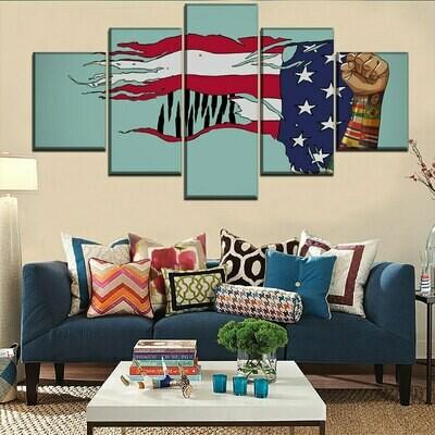 American Flag And Artistic - 5 Panel Canvas Print Wall Art Set