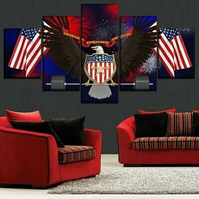 American Flag And Eagle - 5 Panel Canvas Print Wall Art Set