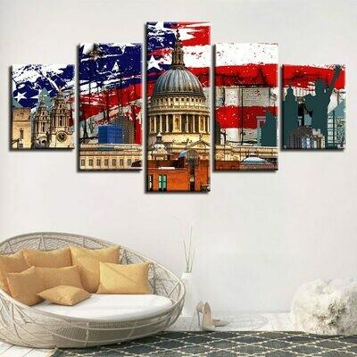American Flag Building Scenery - 5 Panel Canvas Print Wall Art Set