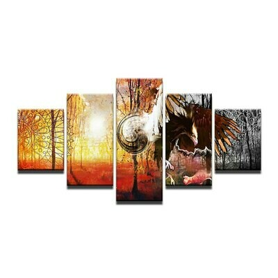 Eagle Hunting - 5 Panel Canvas Print Wall Art Set