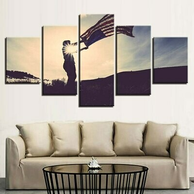 American Flag Landscape - 5 Panel Canvas Print Wall Art Set