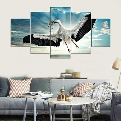 Hunting Egrets - 5 Panel Canvas Print Wall Art Set