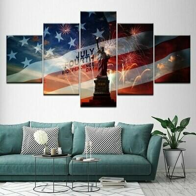 American Flag Statue Of Liberty - 5 Panel Canvas Print Wall Art Set