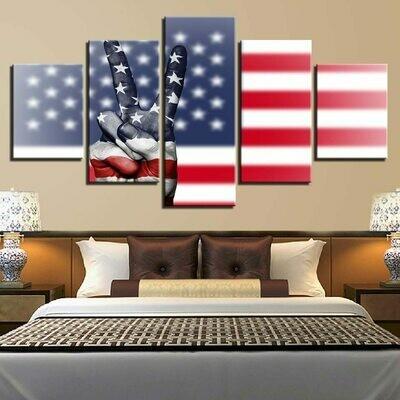American Flag Victory Hand Gesture - 5 Panel Canvas Print Wall Art Set
