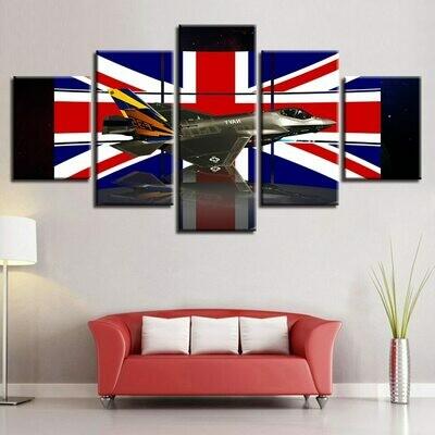 British Flag And Aircraft - 5 Panel Canvas Print Wall Art Set