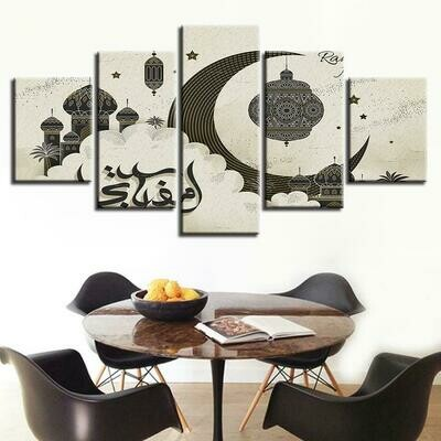 Astract Islamic Muslim - 5 Panel Canvas Print Wall Art Set