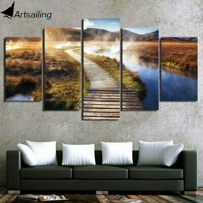 Psychedelic Landscape wooden Bridge - 5 Panel Canvas Print Wall Art Set