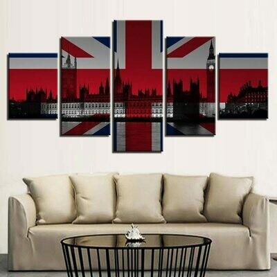 British Flag Hd - 5 Panel Canvas Print Wall Art Set