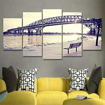 River View At The Foot Of The Bridge - 5 Panel Canvas Print Wall Art Set