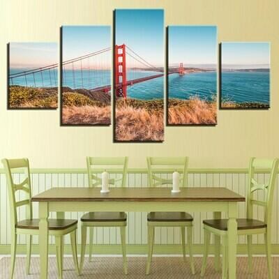 Golden Gate Bridge - 5 Panel Canvas Print Wall Art Set