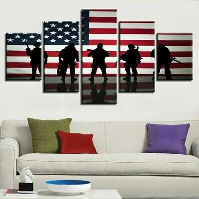 American Flag And Warrior - 5 Panel Canvas Print Wall Art Set