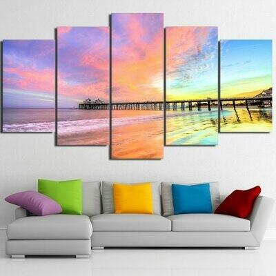 Malibu Pier Beach At Sunset - 5 Panel Canvas Print Wall Art Set