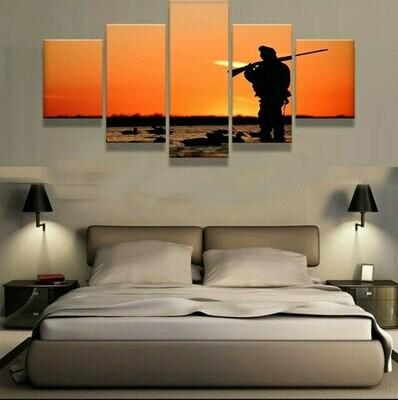 Hunting Sunset Modular - 5 Panel Canvas Print Wall Art Set