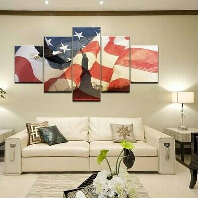 American Usa Flag Statue Of Liberty Eagle - 5 Panel Canvas Print Wall Art Set