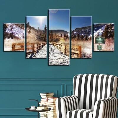 Mountain And Bridge Sunshine Natural Landscape - 5 Panel Canvas Print Wall Art Set