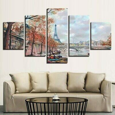 Paris Tower Bridge - 5 Panel Canvas Print Wall Art Set