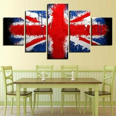 British Flag Modern - 5 Panel Canvas Print Wall Art Set
