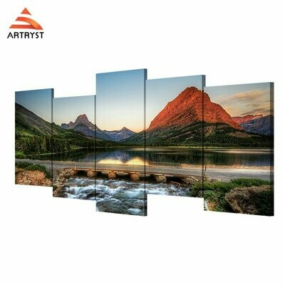 Landscape River Bridge Hill - 5 Panel Canvas Print Wall Art Set