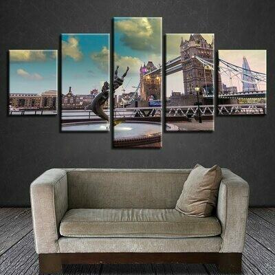 London Bridge City Landscape - 5 Panel Canvas Print Wall Art Set