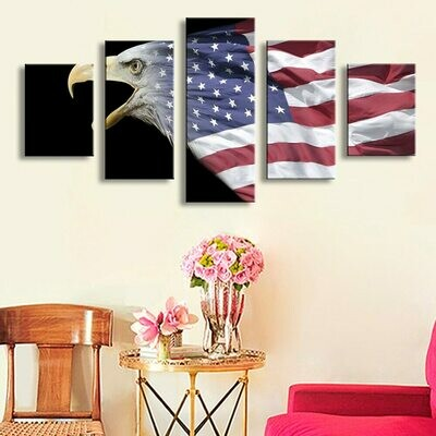 American Flag Picture - 5 Panel Canvas Print Wall Art Set