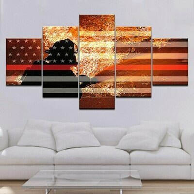 American Flag Soldiers - 5 Panel Canvas Print Wall Art Set