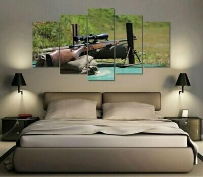 Hunting Gun - 5 Panel Canvas Print Wall Art Set
