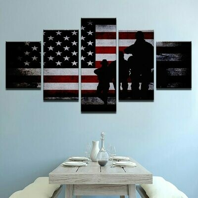 American Flag With Soldier - 5 Panel Canvas Print Wall Art Set