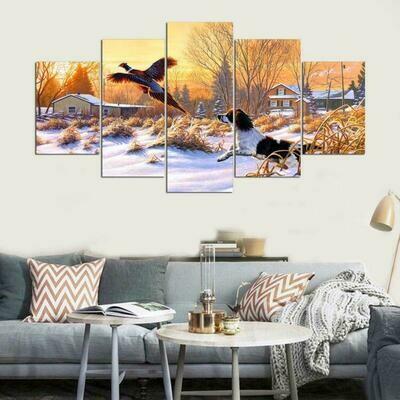 Pheasant Dog Hunting Winter - 5 Panel Canvas Print Wall Art Set