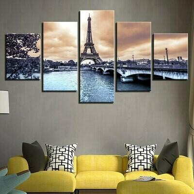 Paris Tower River Bridge - 5 Panel Canvas Print Wall Art Set