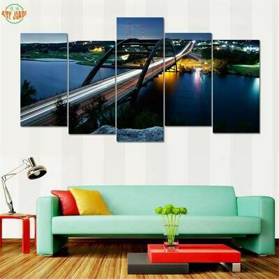 Pennybacker Bridge in Austin - 5 Panel Canvas Print Wall Art Set