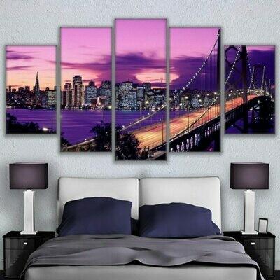 Purple Sunset San Francisco Bridge - 5 Panel Canvas Print Wall Art Set