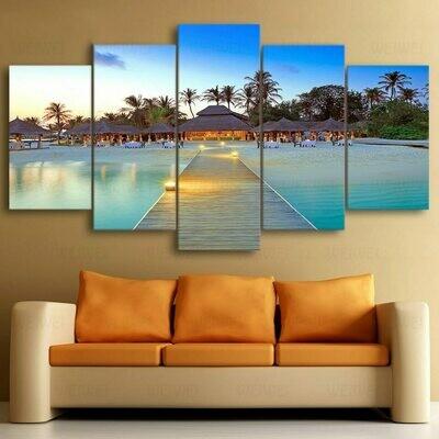 Sea Bridge Palm Trees House Seascape - 5 Panel Canvas Print Wall Art Set