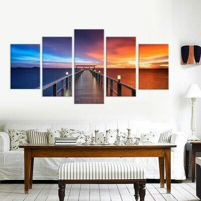 Sea View Wooden Bridge Seaside - 5 Panel Canvas Print Wall Art Set