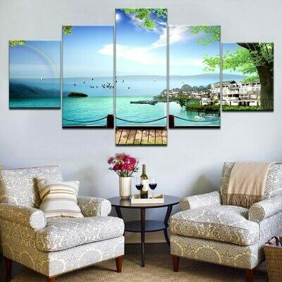 Seascape Bridge - 5 Panel Canvas Print Wall Art Set
