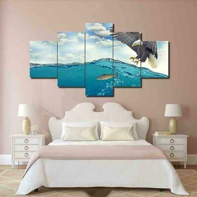 Eagle Hunting Abstract - 5 Panel Canvas Print Wall Art Set