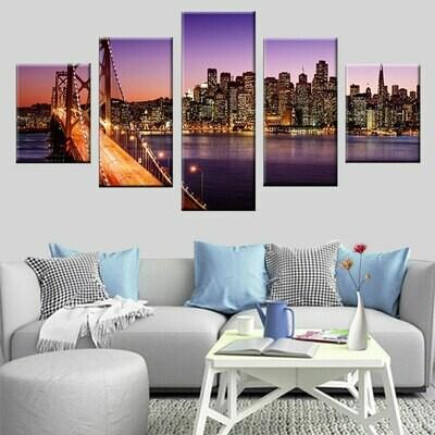Light Shining Bridge Night Scene - 5 Panel Canvas Print Wall Art Set