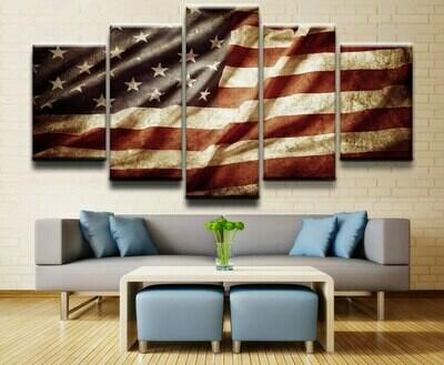 American Flag Modular - 5 Panel Canvas Print Wall Art Set