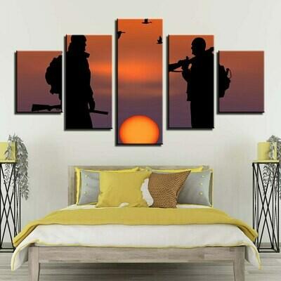 Hunters Sunset- 5 Panel Canvas Print Wall Art Set