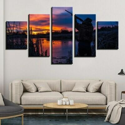 Hunting At Dawn - 5 Panel Canvas Print Wall Art Set