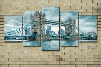 London Tower Bridge Gray - 5 Panel Canvas Print Wall Art Set