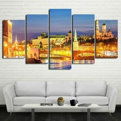 Moscow Houses Rivers Bridges - 5 Panel Canvas Print Wall Art Set