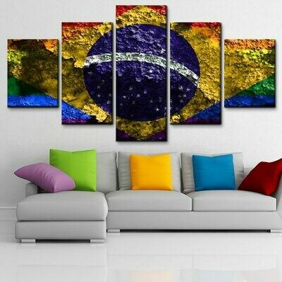 Brazil Flag - 5 Panel Canvas Print Wall Art Set