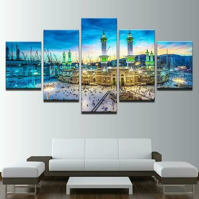 Beautiful Night View Of The Mosque - 5 Panel Canvas Print Wall Art Set