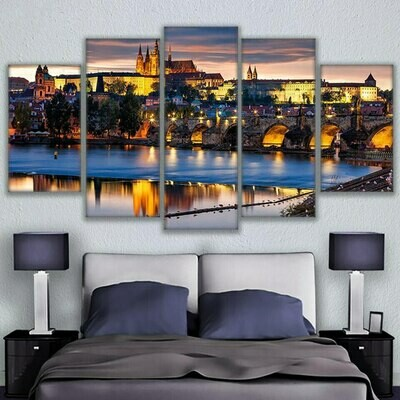 Prague Bridge Painting City Night Scene - 5 Panel Canvas Print Wall Art Set